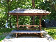 Wooden bench in park Stock Photography