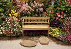 Wooden Bench and pave Stock Image