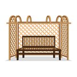 Wooden bench with pergola. Royalty Free Stock Photography
