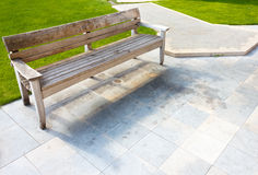 Wooden bench placed in peaceful place Stock Photo