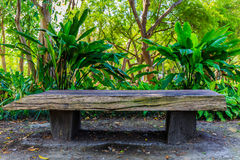 Wooden bench for relax with lover. Or friend at a reservoir in Thailand Stock Photos