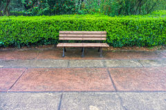A wooden bench for relaxation in the garden of Memorial Hall Stock Images