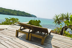 Wooden bench at resort on the coast of Kood island Royalty Free Stock Photos