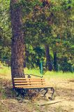 Wooden bench of resting place. Retro toned royalty free stock photos