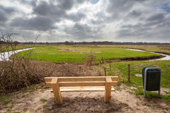 Wooden Bench River Valley View Royalty Free Stock Photography