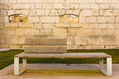 Wooden bench in a rock castle Royalty Free Stock Photos