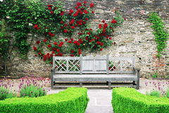 Wooden bench in the rose gardens of Lismore castle. With bright flowers and green hedges Royalty Free Stock Photos