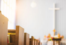 Wooden bench rows in the church Royalty Free Stock Photo