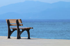 Wooden bench. The bench beside the sea Stock Images