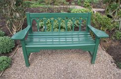 Wooden bench or seat in a garden Royalty Free Stock Image