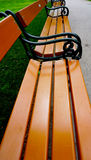 Wooden Bench seat in the park Stock Photos