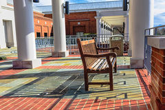 Wooden bench with shadows Stock Photos