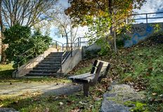 Wooden bench with stairs Royalty Free Stock Photography