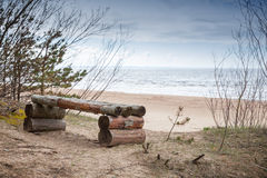 Wooden bench stands on Baltic Sea coast Royalty Free Stock Image