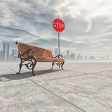 Wooden bench and a stop sign. In the background a city. The concept of relaxation. This is a 3d render illustration Stock Images