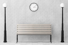 Wooden Bench and Street Lamps against white brick wall with Mode Royalty Free Stock Photos