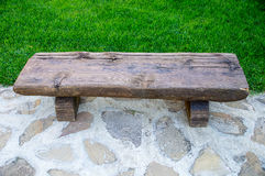 A wooden bench on the streets of Sozopol in Bulgaria Royalty Free Stock Photos