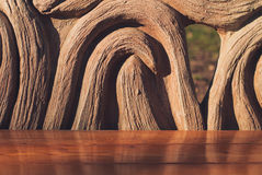 Wooden bench in the summer park. Closeup.  Stock Photography