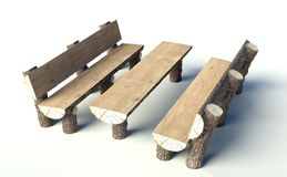 Wooden bench and table made of tree trunks Royalty Free Stock Photography