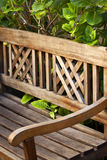 Wooden bench on a terrace Stock Photography