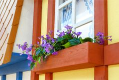 Wooden bench to relax under the window. Flowers at the window design of the children`s town. Windows with curtains royalty free stock photo
