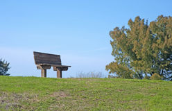 Wooden bench. A wooden bench at the top of a hill, at Bellair Beach, FL Stock Photography