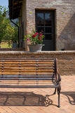 Wooden bench tuscany Stock Image