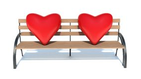 Wooden bench with two Hearts.  Royalty Free Stock Photos