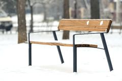 Wooden bench at winter Royalty Free Stock Photography