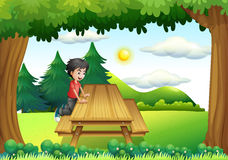 A wooden bench with a young boy at the forest Royalty Free Stock Image