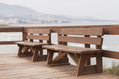 Wooden benches. Royalty Free Stock Photos