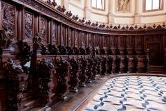 Wooden benches choir San Giorgio Maggiore Monastry church Venice, Italy. Wooden benches in the church of the San Giorgio Maggiore monastry in Venice, Italy Royalty Free Stock Photos