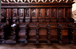 Wooden benches choir San Giorgio Maggiore Monastry church Venice, Italy. Wooden benches in the church of the San Giorgio Maggiore monastry in Venice, Italy Royalty Free Stock Images