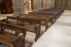 Wooden benches of church Stock Images