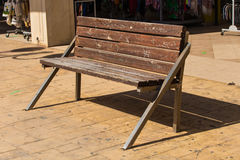 Wooden benches in the city park Royalty Free Stock Photos