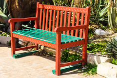 Wooden benches in the city park Royalty Free Stock Image