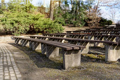 Wooden benches in the city park Stock Photo