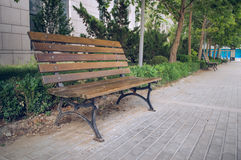 Wooden benches in the garden Stock Photo