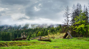Wooden benches and a gazebo in forest . Royalty Free Stock Photo