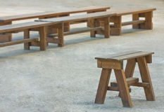 Wooden benches for outdoor group activities.. Royalty Free Stock Images