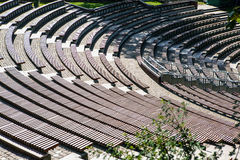Wooden benches in outdoor theatre Royalty Free Stock Photos