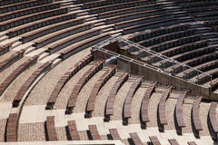 Wooden benches in outdoor theatre royalty free stock image