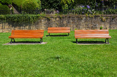 Wooden benches on park Stock Photo