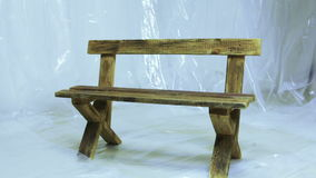 Wooden benches stock footage
