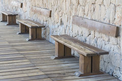 Wooden benches. Royalty Free Stock Photography