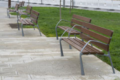 Wooden benches. Wooden benches in a public park Stock Photography