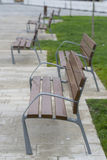 Wooden benches. Wooden benches in a public park Stock Photo