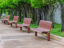 Wooden benches. Row wooden benches in park Royalty Free Stock Photo