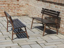 Wooden benches on a square Royalty Free Stock Photo