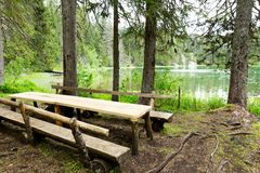 Wooden benches and table Royalty Free Stock Photos